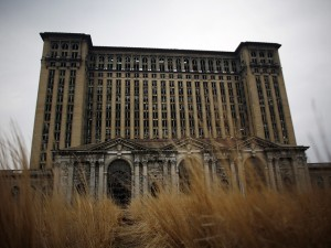 The abandoned Michigan Central Station is seen in Detroit, Michigan