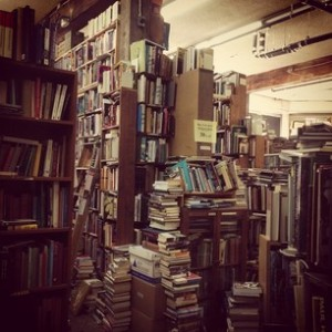 messy used bookstore