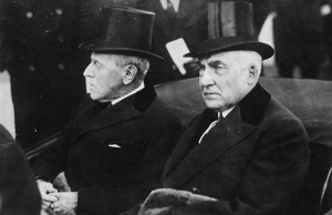 Wilson and Harding at the 1921 Inauguration