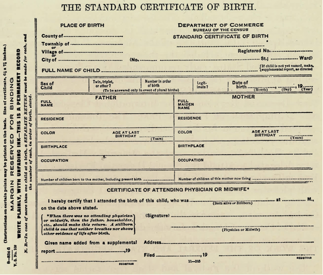 The Standard Certificate of Birth created by the U.S. Census Bureau for use by the states. Source: Cressy L. Wilbur, The Federal Registration Service (Washington, D.C.: G.P.O., 1916)