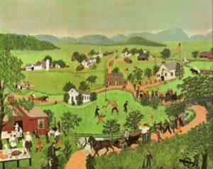 """Anna Mary Robertson (""""Grandma"""") Moses, """"July 4th,"""" 1951"""