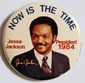 "A 1984 presidential campaign button, courtesy of the website ""Teaching History with 100 Objects."""