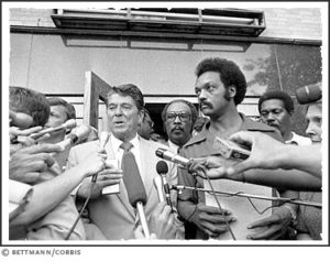 Jackson with presidential candidate Ronald Reagan in August 1980 at Operation PUSH headquarters.